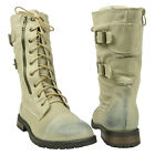 Womens Mid Calf Lace Up Military Combat Boots w/ Buckle Strap Beige Size 5.5-10