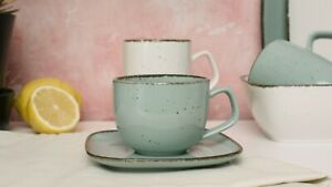 D&F Natural Collection Coffee/Tea Cup and Saucer, Father's Day Gift,
