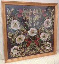 Vintage Framed Wool Tapestry Needlepoint - Wild Roses, E Beckett