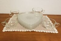 Vintage Cut Glass Triangle Snack Plate and Cup, 8pc Snack Set