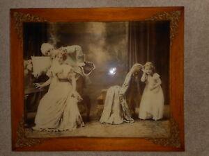 Vintage Eavesdropper Print Re framed Antique Kitschy Victorian Girl 24x20