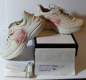 Gucci Apollo Ivoire White Leather Rubber Sole Sneakers GUCCI Logo Size 10