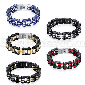 Biker Motorcycle Bike Chain Design Stainless Steel Bracelet Link Men's Jewelry