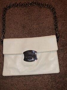 Vintage Prada White Leather Clutch Bag ITALY