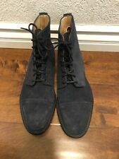 $515 JCREW Alfred Sargent Navy Suede Cap Toe Boots Shoes 11 navy blue 08439