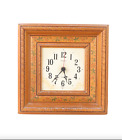 Vintage 70s Mid Century Modern MCM Wood Floral Hanging Wall Clock Farmhouse