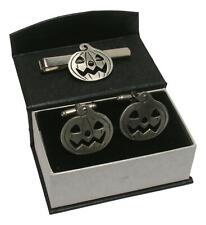 Pumpkin Cufflinks and Tie Slide Bar Set Halloween Gift Boxed