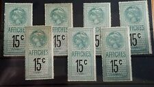 7 x France Unused 15c Fiscal Revenue Stamps  - LH