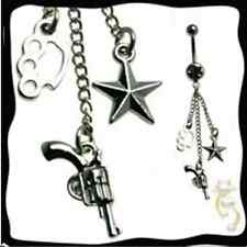 Knuckle Star Gun Belly Ring Dangle Navel Gothic Body Jewelry 316L Surgical
