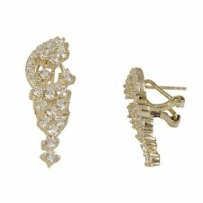 Gold Tone Sterling Silver White CZ Womens Cluster Drop Earrings