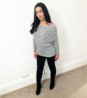 Womens Grey Jumper Off Shoulder Bardot Top KnItted Mohair Sweater Ladies Size