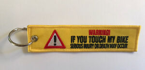 WARNING⚠️Don't Touch Motorcycle Jet Tag Embroidered Key Ring Keyring Key Chain