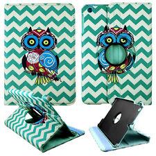 OWL ON CHEVRON CASE IPAD MINI 1/2/ 3 360 ROTATING STAND TABLET COVER