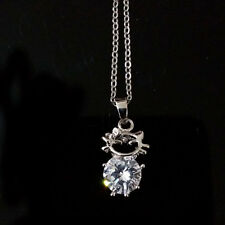 Silver Plated Cute Cat Charm Lady Pendant Zircon Choker Clavicle Chain Necklace