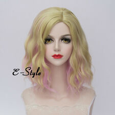 Medium Lolita 35CM Blonde Pink Gradient Curly Fashion Ombre Women Cosplay Wig
