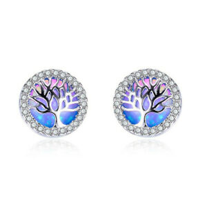 Fashion Jewelry Silver Blue Protein Tree Round Stud Earring wedding Jewelry