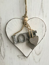 Gisela Graham White Shabby Wooden Chic LOVE Heart Decoration Sign Hanger