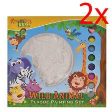 Juego de 2 Pintar Tu Propia Placa De Yeso animales salvajes Niños Diversión Creativa De Pintura