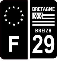4 Autocollants 2 paires Stickers style Auto Plaque Black Edition noir F+ 29