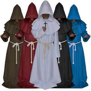 Adult Men Monk Hooded Robes Cloak Cape Friar Medieval Renaissance Priest Costume