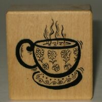 """PSX Rubber Stamp Steaming Cup Coffee Tea Wood Mount 1.5"""" x 1.5"""""""