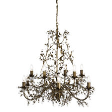 Searchlight Almandite 12 Light Traditional Brown Gold Crystal Ceiling Chandelier