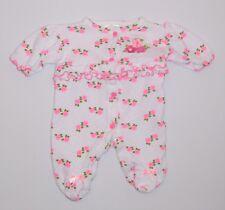 Mon Cheri Baby Pink Roses Dots Ruffled White Footed Romper Sleeper, Preemie