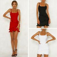 Women Ruffle Frill Strappy Dresses Summer Holiday Party Bodycon Beach Mini Dress