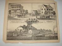 Original 1873 Print Granite Iron Works MahanoyCity, Pa - Schuylkill County, Pa