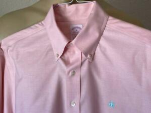 BROOKS BROTHERS Men's Pink Solid Non Iron Dress Shirt Size Medium LOGO **