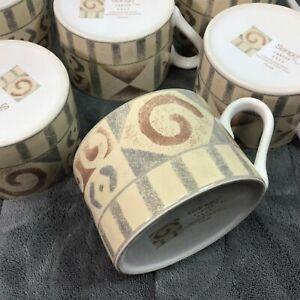 6 Sango CANYON Southwestern Aztec Geometric Mugs Brown Green-Gray Tan Cups 4890