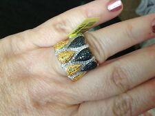 Genuine  white, yellow, black Diamond Platinum overlay Sterling Silver Ring