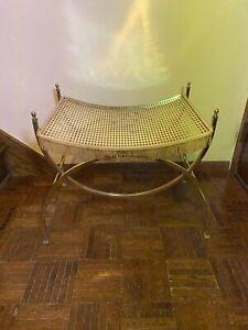 Vintage Hollywood Regency Mid Century Modern Metal Vanity Bench Chair Stool