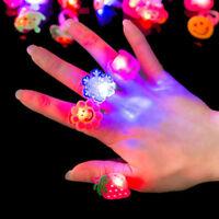 10/50x Kids LED Flashing Glow in Dark Finger Rings Xmas Party Favor Fun Toy Gift