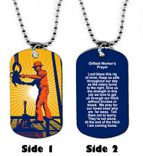 DOG TAG NECKLACE Oilfield Worker's Prayer Rig Dig Hitch Oil Well God Jesus Amen