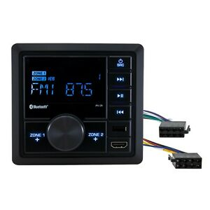 RecPro RV Mechless Radio Stereo Unit AM/FM with Bluetooth - Wall Mount Dual Zone