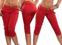 Pantalones Capri Con Cinturón Pantalón elástico Skinny TUBO Bermudas BAGGY