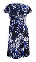 Lauren Ralph Lauren Women's Petite Flutter Sleeve A-Line Dress (8P, Light Navy)