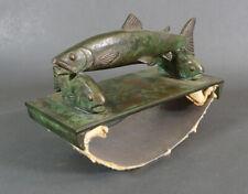 Art Nouveau German Ferdinand von Miller Bronze Salmon Fish Ink Blotter Rocker