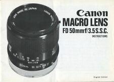 Canon Macro Lens FD 50mm F3.5 S.S.C. Instruction Manual