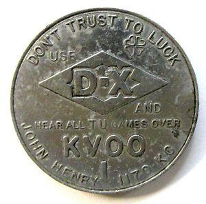 1950 UNIVERSITY TULSA Football Schedule Coin D-X Gasoline GOOD LUCK SPINNER