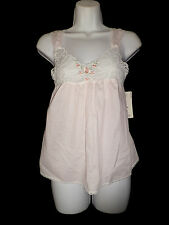 NWT LUCIE ANN II Camisole Top S Pink Pastel WHITE LACE Cami NIGHTIE New USA Made