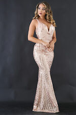 LaDieS Rose Gold Open Back Sequin Maxi Dress CocKTaiL/FormaL/Evening S, L