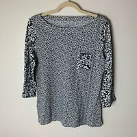 LOFT Women's Top Size Large 3/4 Sleeves Pocket Floral Casual Black White Cotton