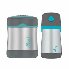 Thermos Foogo Vacuum Insulated S/S Food Jar and Straw Bottle - Charcoal/Teal