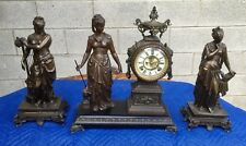 Ansonia 3 Piece Mantel Clock With Side Statues
