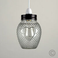 Traditional Vintage Glass Jar Ceiling Pendant Light Shade Love Heart Pattern