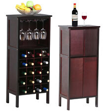 Wood Wine Cabinet Bottle Holder Storage Kitchen Home Bar With Glass Rack Used B