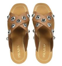 Prada Womens Brown Leather Crisscross Crystal Grommets Slide Sandals Size 40