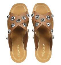 Prada Womens Brown Leather Crisscross Crystal Grommets Slide Sandals Size 40